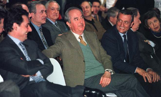 Édouard Balladur (centre) in 1995 with François Léotard (right) and Nicolas Sarkozy. © Reuters