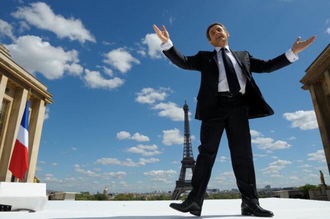 Nicolas Sarkozy au Trocadéro, le 1er mai 2012. © Reuters