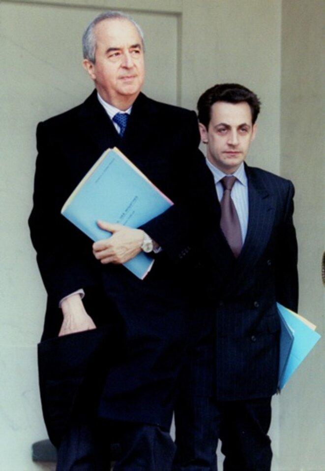 MM. Balladur et Sarkozy, en 1995