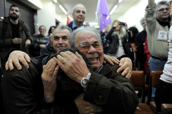 Des militants de Syriza à l'annonce des résultats de l'élection, le 25 janvier.