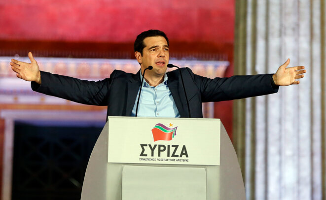 Alexis Tsipras, le leader de Syriza, dimanche 25 janvier. © Reuters
