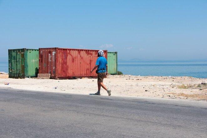 Sur la route vers le camp à Lesbos