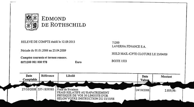 Ordre de rapatriement de 30 lingots d'or sur le compte luxembourgeois au nom de la fille de Joëlle Ceccaldi-Raynaud