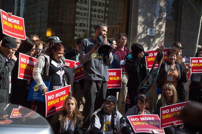 Manifestation pour la légalisation du cannabis thérapeutique dans l'Etat de New York.