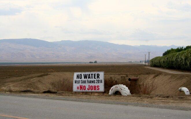 """""""Pas d'eau, pas d'emplois"""", signale une pancarte en bordure d'un champ."""