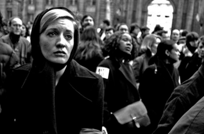 Manifestation du personnel de la compagnie aérienne Air Lib pendant la mise en liquidation judiciaire. Paris le 11 02 03. © Olivier Perriraz