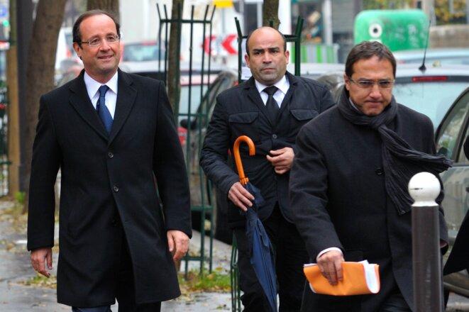 François Hollande et Faouzi Lamdaoui, au premier plan