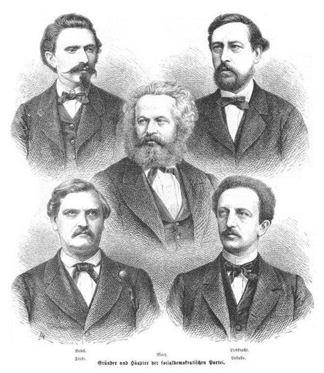 Les fondateurs du SPD (avec Karl Marx au centre).