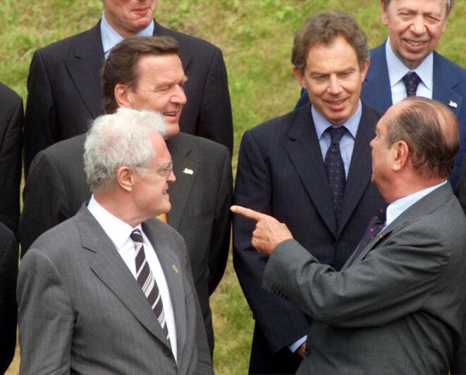 Lionel Jospin, Gerhard Schröder, Tony Blair et Jacques Chirac le 19 juin 2000
