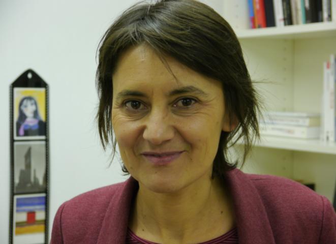 Nathalie Arthaud au siège de Lutte ouvrière.