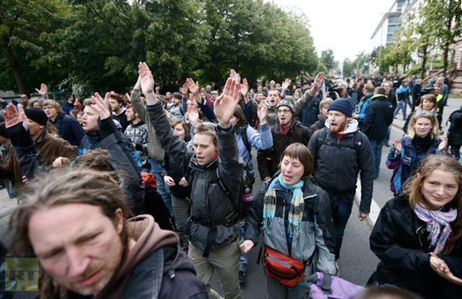 Manifestation contre l'austérité samedi à Francfort (Allemagne)