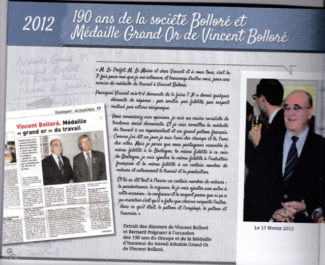 2012, B. Poignant remet la médaille Grand Or du travail à V. Bolloré © Mediapart