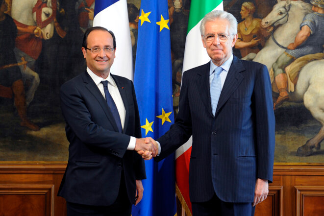 François Hollande et Mario Monti à Rome jeudi 14 juin.