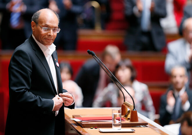 Moncef Marzouki à l'Assemblée nationale, le 18 juillet © Reuters.