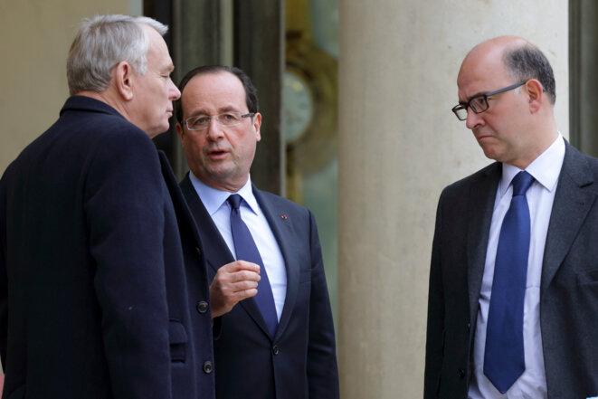 Jean-Marc Ayrault, François Hollande et Pierre Moscovici début janvier à l'Elysée © Reuters