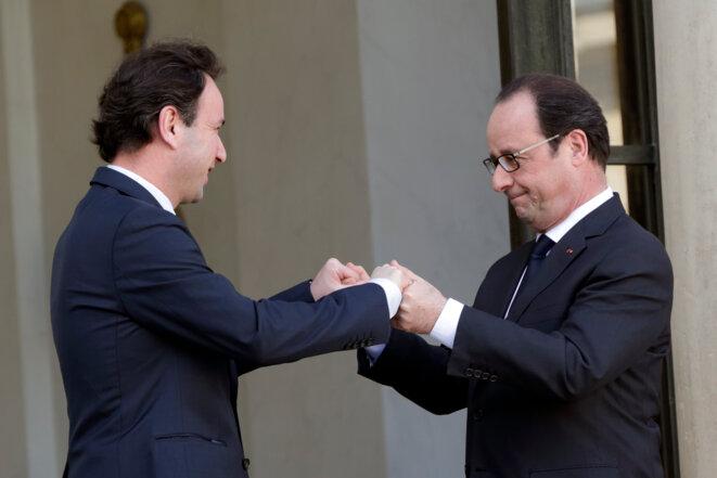 François Hollande avec Khaled Khodja le président de la Coalition nationale syrienne, le 5 mars 2015 © Reuters