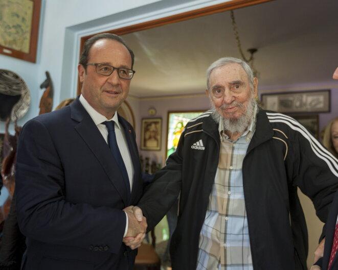 François Hollande et Fidel Castro lundi à La Havane © Reuters