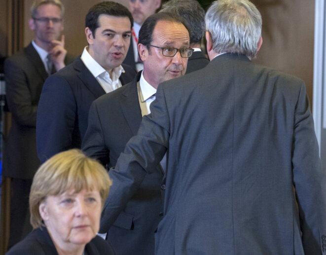 Angela Merkel, François Hollande et Alexis Tsipras le 7 juillet à Bruxelles