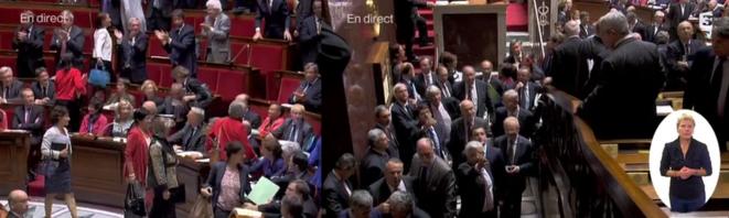 A l'Assemblée mercredi, la droite quitte l'hémicycle © Twitter / Salam93
