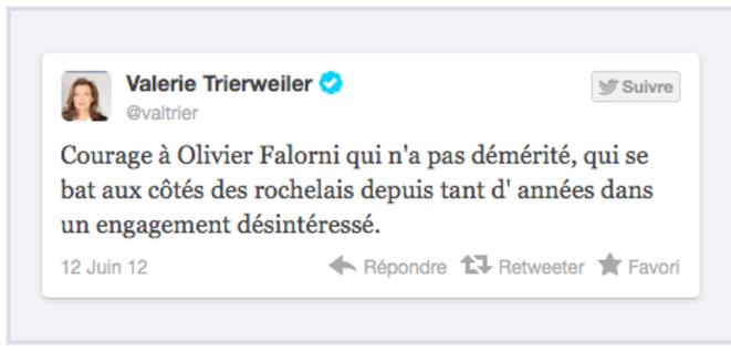 Capture d'écran du compte Tiwtter de V.Trierweiler © DR