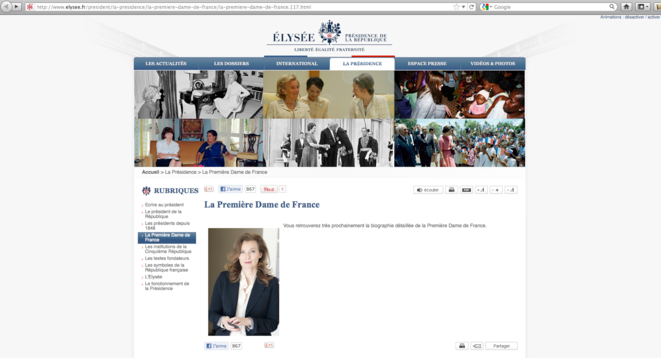 Capture d'écran du site elysee.fr au lendemain de la passation de pouvoir