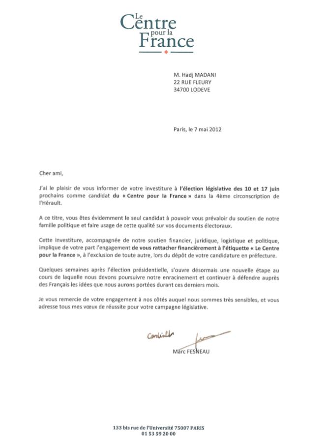 Lettre envoyée aux candidats investis par le MoDem pour les législatives