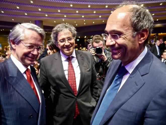 Philippe Marini et Éric Woerth, parmi l'armée d'élus et ministres à la Mutualité
