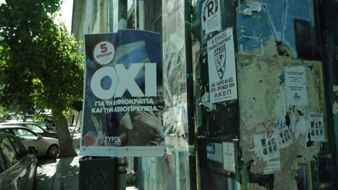 "A Syriza party poster during the July 5th referendum campaign urging a ""No"" vote ""for democracy and dignity""."