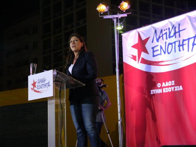 Zoi Konstantopoulou pendant son meeting le 15 septembre à Athènes