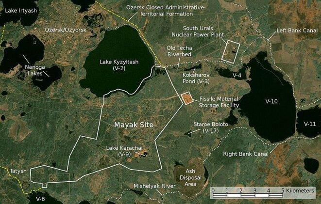 La ville fermée d'Ozersk, le complexe de Maïak et le début de la rivière Tetcha