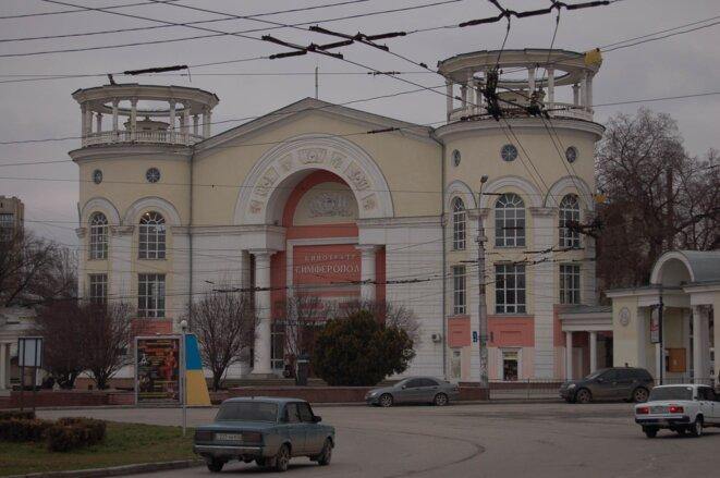 Le cinéma-théâtre de Simferopol est devenu une galerie commerciale. © Amélie Poinssot