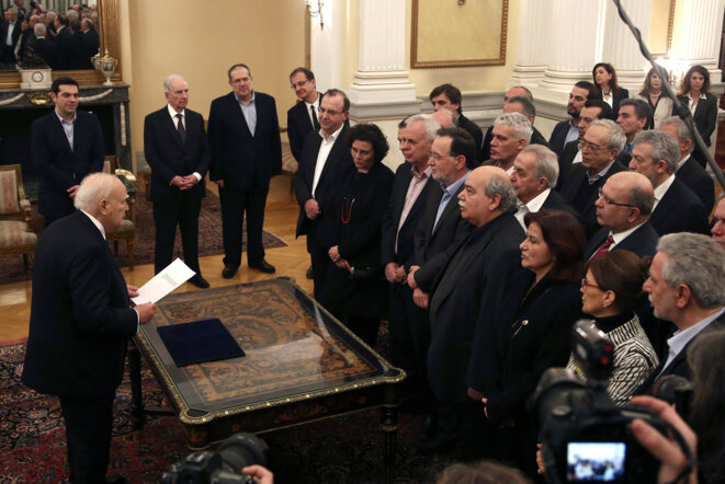 Prestation de serment du gouvernement Tsipras, le 27 janvier 2015