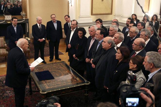 Prestation de serment du gouvernement Tsipras, le 27 janvier 2015 © Reuters