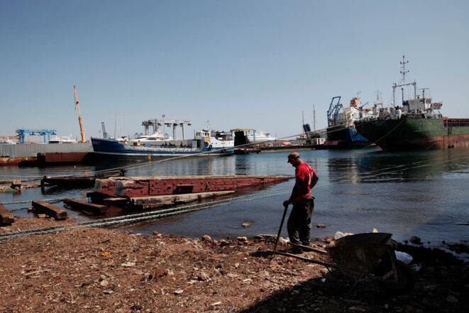 Chantier naval de Perama, en banlieue d'Athènes. La plupart des ouvriers sont aujourd'hui des chômeurs de longue durée