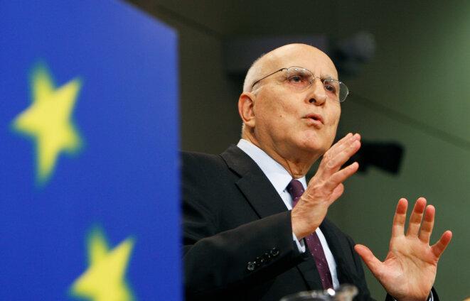 """Stavros Dimas en 2009, quand il était commissaire: un """"visage familier"""" pour ses collègues européens"""