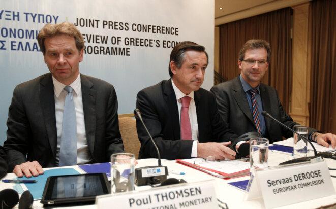 La dernière conférence de presse de Poul Thomsen à Athènes. C'était en février 2011, avec les autres représentants de la Troïka
