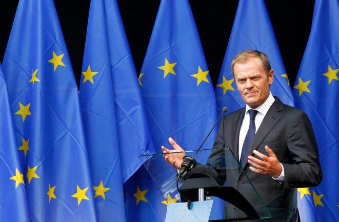 """Donald Tusk, à l'occasion de l'inauguration de l' """"Esplanade Solidarnosc 1980"""" au parlement européen, en 2011 © Reuters"""