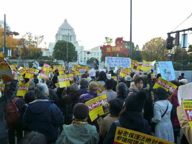 Devant le Parlement japonais, le 5 décembre 2013. © Kasumi Fujiwara