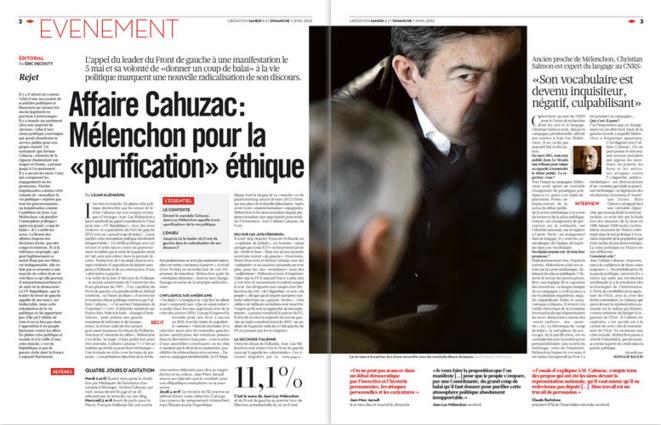 Libération, samedi 6 avril 2013, pages 2-3. Cliquer pour agrandir.
