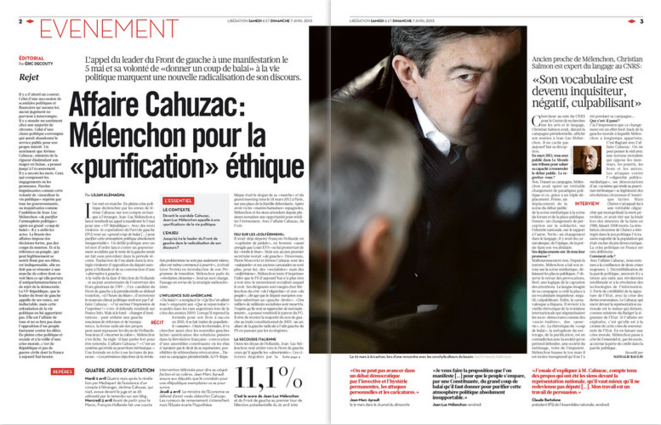 Libération, samedi 6 avril 2013, pages 2-3.