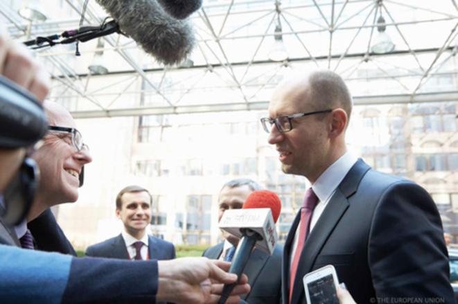 Le chef du gouvernement ukrainien de transition, Arseni Yatseniouk, à Bruxelles, le 6 mars. © CE.