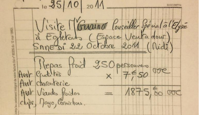 Une facture d'Henri Guaino. © Mediapart