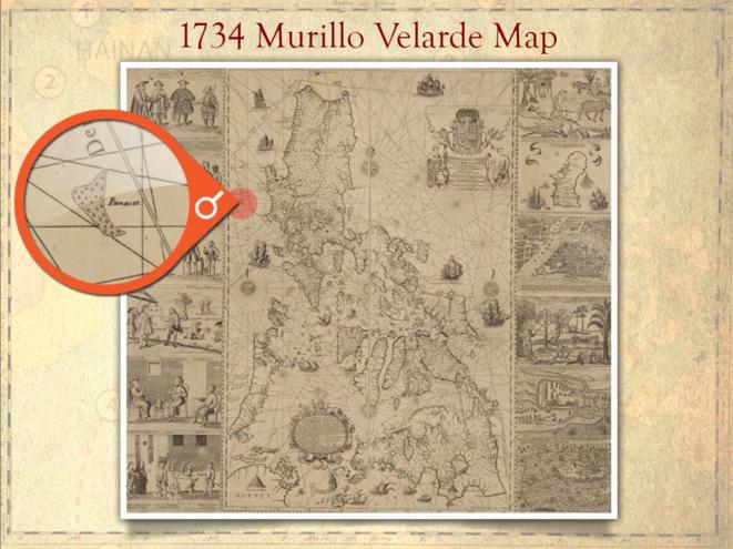 Considérée comme la première carte scientifique de l'archipel, la carte du jésuite Murillo Velarde (1734) représente l'atoll de Scarborough, l'un des récifs disputés, comme faisant partie du territoire philippin. Le document a été présenté par Manille au tribunal d'arbitrage le mois dernier afin de faire valoir ses droits maritimes contre Pékin.   © dr