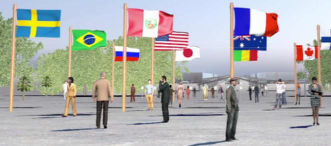 """Future entrée du site de la COP 21 au Bourget, la """"forêt de drapeaux"""" (DR)."""