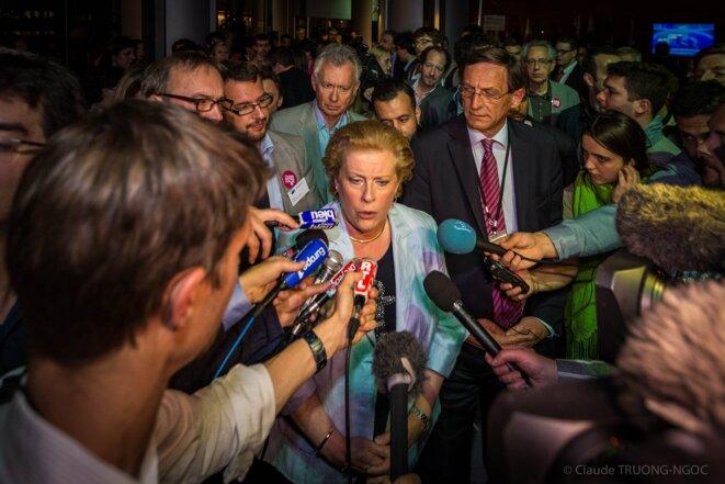 Catherine Trautmann, dimanche 25 mai à l'annonce des résultats. © Claude Truong-Noc