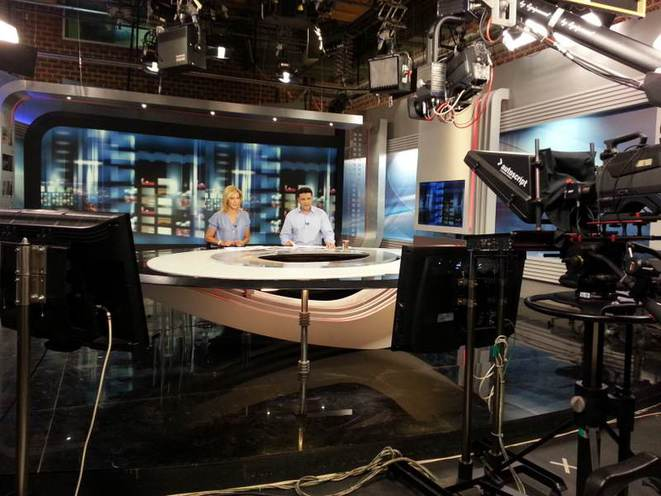 Le studio central de NET, la chaîne d'information en continu qui fonctionne malgré l'interdiction du gouvernement.