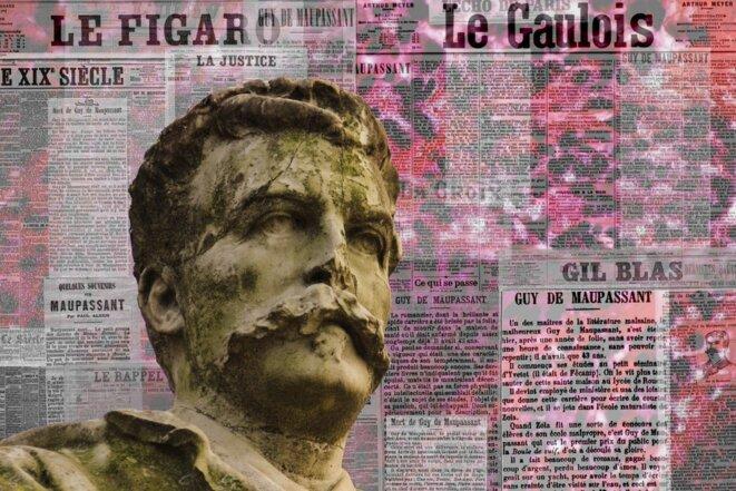 Le visage de la statue de Guy de Maupassant au Parc Monceau, avec, en toile de fond, les journaux qui évoquent sa mort en 1893. © Frantz Vaillant