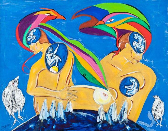 «Les Alchimistes», par Sophie Tedeschi. 114x146 cm. Huile sur toile.