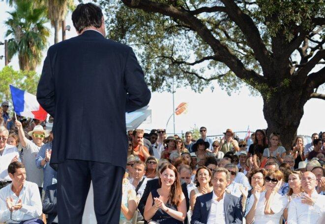 Nicolas Sarkozy, dimanche 19 juillet à Nice, lors du lancement de la caravane estival des jeunes LR.