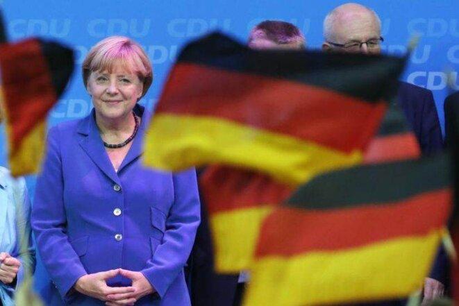 Angela Merkel au siège de la CDU, dimanche soir. © Reuters